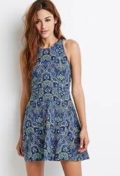 Forever 21 Abstract Mosaic Racerback Dress Blue Green