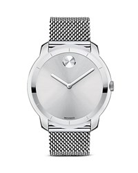 Movado Bold Stainless Steel And Silver Tone Sunray Dial Watch 44Mm