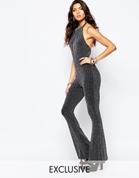 Reclaimed Vintage High Neck Sexy Plunge Jumpsuit In 70S Glitter Lurex Lurex Black
