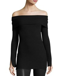 Marled By Reunited Off The Shoulder Ribbed Sweater Black