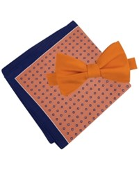 Tommy Hilfiger Men's Solid Pre Tied Bow Tie And Micro Neat Pocket Square Set Orange