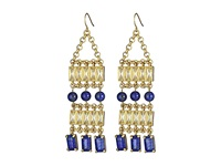 Lauren Ralph Lauren Camino Real Faceted Stones Drama Chandelier Earrings Worn Gold Blue Yellow Earring