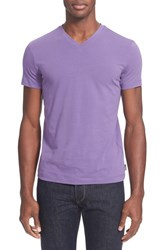 Men's Armani Collezioni V Neck T Shirt Purple