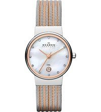 Skagen 355Ssrs Two Tone Mesh Bracelet Watch White