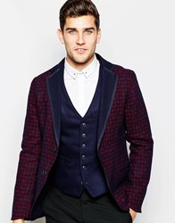 Sisley Reversible Blazer With Check Lapel Navy