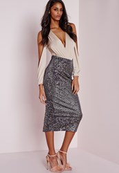 Missguided Longline Velvet Sequin Midi Skirt Grey Grey