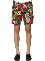 Hydrogen Floral Printed Cotton Cargo Shorts