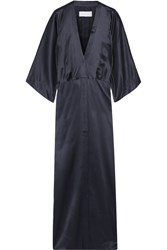 Michelle Mason Silk Satin Kimono Jacket Midnight Blue