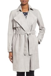 Hugo Boss 'Sobree' Belted Genuine Suede Trench Coat Gray
