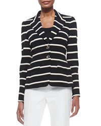Escada Striped Two Button Blazer Navy