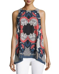 Max Studio Floral Print A Line Tank Navy Spiced Coral