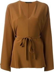 The Row V Neck Blouse Brown