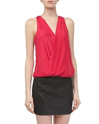 Madison Marcus Wrap Style Charmeuse Contrast Dress Pink Black