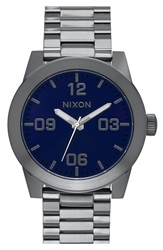 Nixon 'The Corporal' Bracelet Watch 48Mm Gunmetal Cobalt