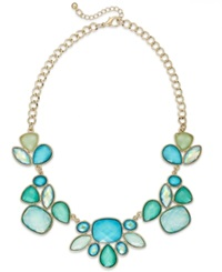 Style And Co. Gold Tone Blue Green Bold Stone Frontal Necklace Greenblue
