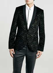 Topman Noose And Monkey Black Floral Blazer