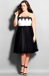 Plus Size Women's City Chic 'Sweetheart' Pleated Strapless Colorblock Party Dress