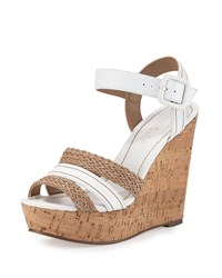 Charles By Charles David Renata Leather Wedge Sandal White Natural