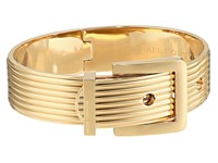 Michael Kors Heritage Ridged Texture Wide Ridged Buckle Hinged Bangle Bracelet Gold Bracelet