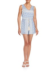 Romeo And Juliet Couture Printed Tassel Trim Short Jumpsuit Blue White