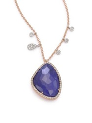 Meira T Sodalite Diamond And 14K Rose Gold Pendant Necklace Rose Gold Blue