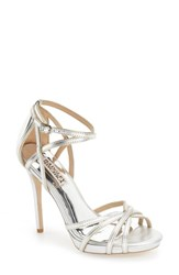 Women's Badgley Mischka 'Leon Ii' Metallic Ankle Strap Sandal Silver Matte Specchio Leather