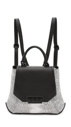 Zac Posen Snake Embossed Eartha Envelope Backpack White