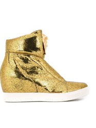 Versace High Wedge Sneakers Metallic