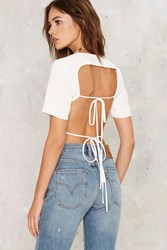 Lavish Alice Keep It Open Backless Top White