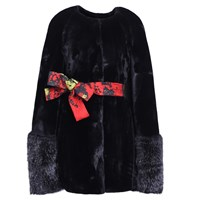 Ardent And Co Black Faux Mink Fur Cape