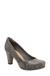 Clarksr Women's Clarks 'Chorus Chic' Round Toe Pump Taupe Snake Leather