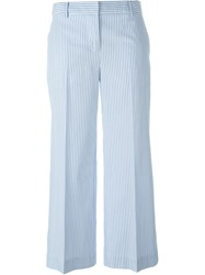 Blumarine Cropped Striped Trousers Blue