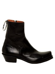 Vetements Metal Ring Leather Ankle Boots Black