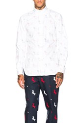 Thom Browne Hector Embroidery Oxford Shirt In White Animal Print White Animal Print