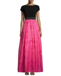 Theia Cap Sleeve Ball Skirt Gown Cerise