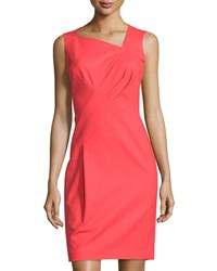Lafayette 148 New York Melanie Pleated Sleeveless Sheath Dress Tango Red