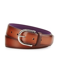 Neiman Marcus Burnished Leather Belt Brown