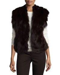 Adrienne Landau Rabbit And Fox Fur Vest Merlot