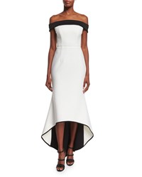 Black Halo Off The Shoulder Two Tone Gown Whip Cream Women's