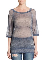 Vince Metallic Sheer Knit Sweater Stellar