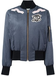 Olympia Le Tan 'The Heart Is A Lonely Hunter' Bomber Jacket Blue