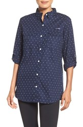Columbia Women's 'Super Bonehead' Long Sleeve Shirt Collegiate Navy Polka Dot