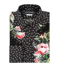 Dolce And Gabbana Applique Flower Shirt Male Black