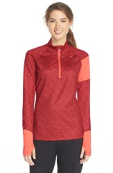 Asics 'Thermostripe' Print Half Zip Jacket Deep Ruby Stripe Living Coral