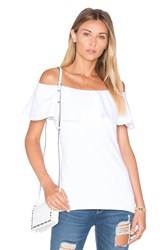Susana Monaco Ruffle Off Shoulder Top White