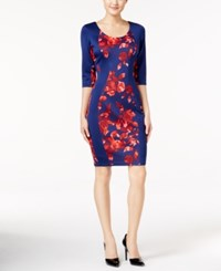 Sangria Floral Print Panel Sheath Dress Navy Red