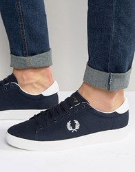 Fred Perry Spencer Canvas Trainers Navy Blue