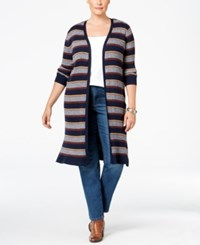 Styleandco. Style Co. Plus Size Striped Open Front Duster Cardigan Only At Macy's Indigo Blue Combo