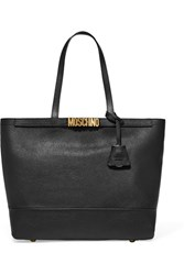 Moschino Embellished Textured Leather Tote Black