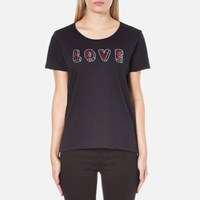 Maison Scotch Women's Crew Neck Clubhouse T Shirt With Love Embellishment Black